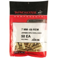 WINCHESTER BRASS 7MM-08 REMINGTON UNPRIMED 50/bag 20/cs