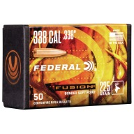 Federal 338cal (.338) Fusion 225gr BT Bullet Box of 50