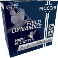 "FIOCCHI AMMO 12ga 3"" HIGH-VEL 1300fps 1.75oz #5 25b 10c"