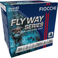 "FIOCCHI AMMO 20ga 3"" SP-STEEL 1500fps 7/8oz #4 25b 10c"