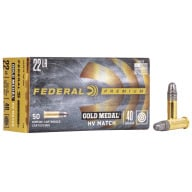 FEDERAL AMMO 22LR HV MATCH 40 gr SOLID 1200fps 50b 100c