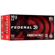 FEDERAL AMMO 22LR 40gr SOLID AM.-EAGLE 50/bx 100/cs