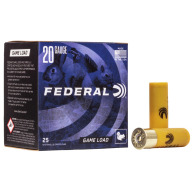 "FEDERAL AMMO 20ga 2.75"" 2.5d 7/8oz #6 25/bx 10/cs"