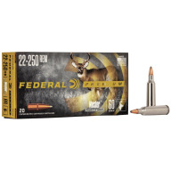 FEDERAL AMMO 22-250 REMINGTON 60gr NOSLER-PART.(V/S) 20/b 10/c