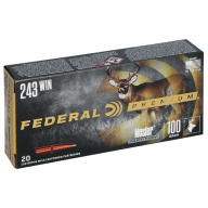FEDERAL AMMO 243 WINCHESTER 100gr NOSLER-PART. MOLY 20/b 10/c