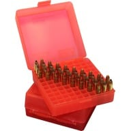 MTM AMMO BOX 22MAG 100rd RIMFIRE BOX CLR-RED 24/CS