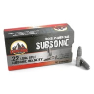Cascade 22 LR Ammunition Subsonic 50gr LDRN Nickel Plated Cases Box of 50