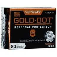 Speer Ammo 380 ACP 90gr GoldDot-HP 20 per box