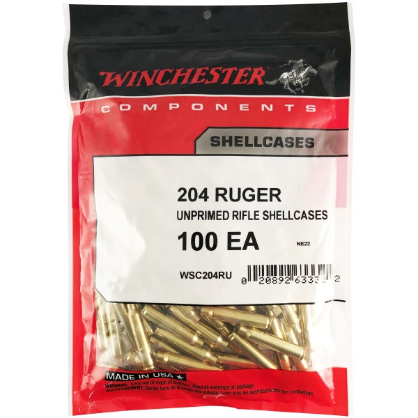 Winchester Brass 204 Ruger Unprimed Bag of 100