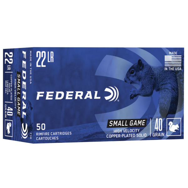 FEDERAL AMMO 22LR 40gr COPPER PLATED SOLID 50/bx 100/cs