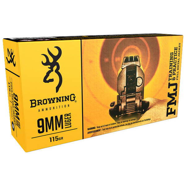 BROWNING AMMO 9MM LUGER 115gr FMJ 50/bx 10/cs