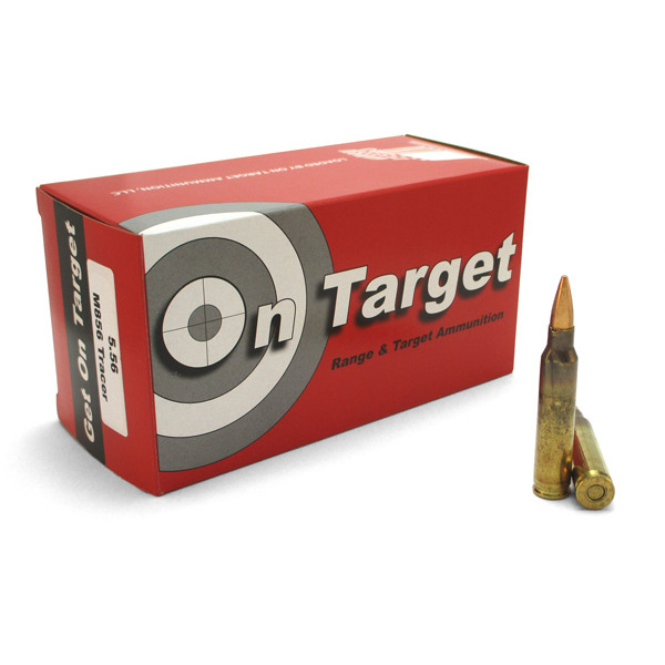 On Target Ammo 5.56x45mm 64grain FMJ M856 Tracer Ammo 50 per box 10/cs
